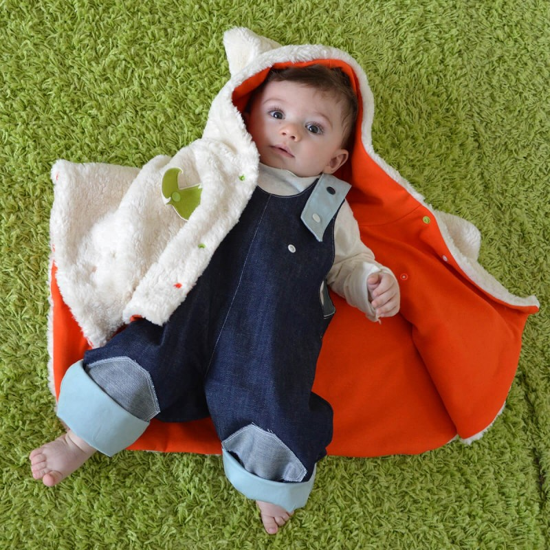 poncho bebe en coton bio made in france