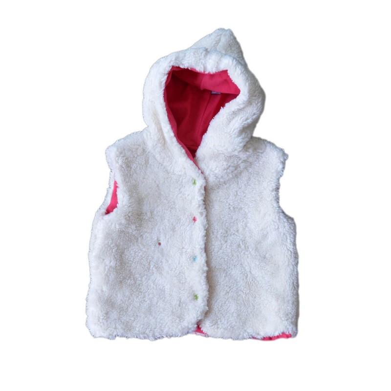 veste capûchon sans manches doublure fuchsia coton bio