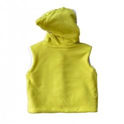 veste reversible coton bio sans manches capuchon vert