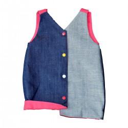 robe bebe jean coton bio doublure fuchsia