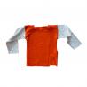 t-shirt coton bio orange manches écru