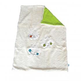 couverture ecru vert coton bio made in France