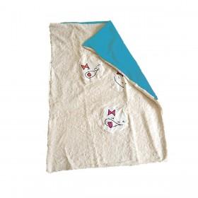 couverture teddy coton bio ecru bleu turquoise