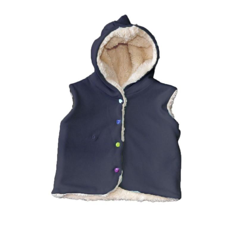 veste reversible sans manches bleu marine coton bio