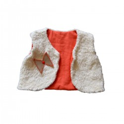 gilet du berger reversible ecru orange