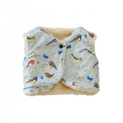 gilet du berger reversible imprime petits oiseaux coton bio