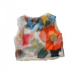 gilet du berger original reversible tissu fleuri coton bio