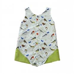 robe reversible oiseaux vert fille