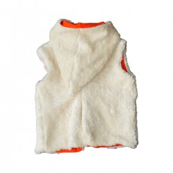 veste reversible sans manches ecru doublure orange fille garcon