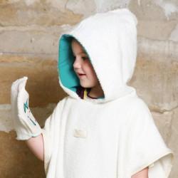 poncho avec gant en eponche coton bio