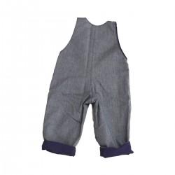 salopette jean bebe coton bio bleu marine