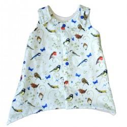 robe evolutive coton bio GOTS petits oiseaux